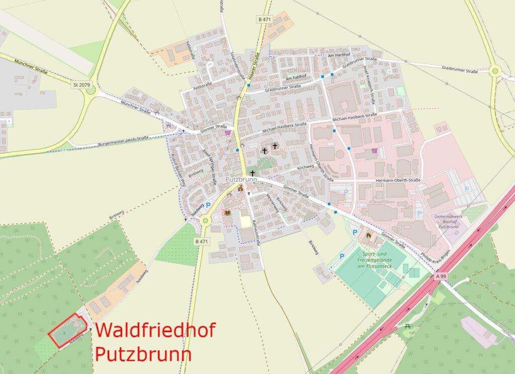 Anfahrtskarte Waldfriedhof Putzbrunn