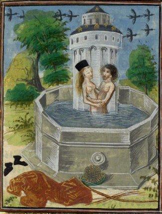 Salmakis und Hermaphroditos; Ovidius, Metamorphoseon libri XV, flandrische Buchmalerei, 15. Jahrhundert
